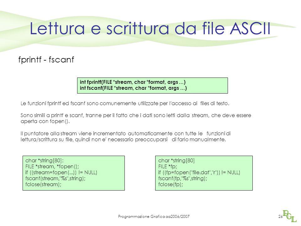 Lettura e scrittura da file ASCII