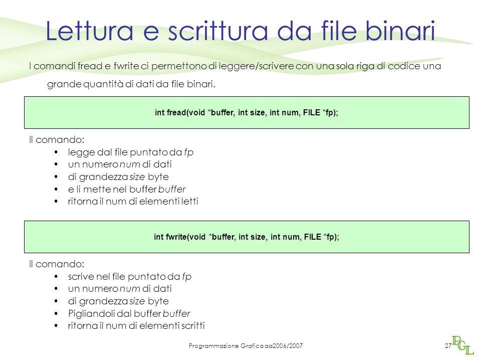Lettura e scrittura da file binari