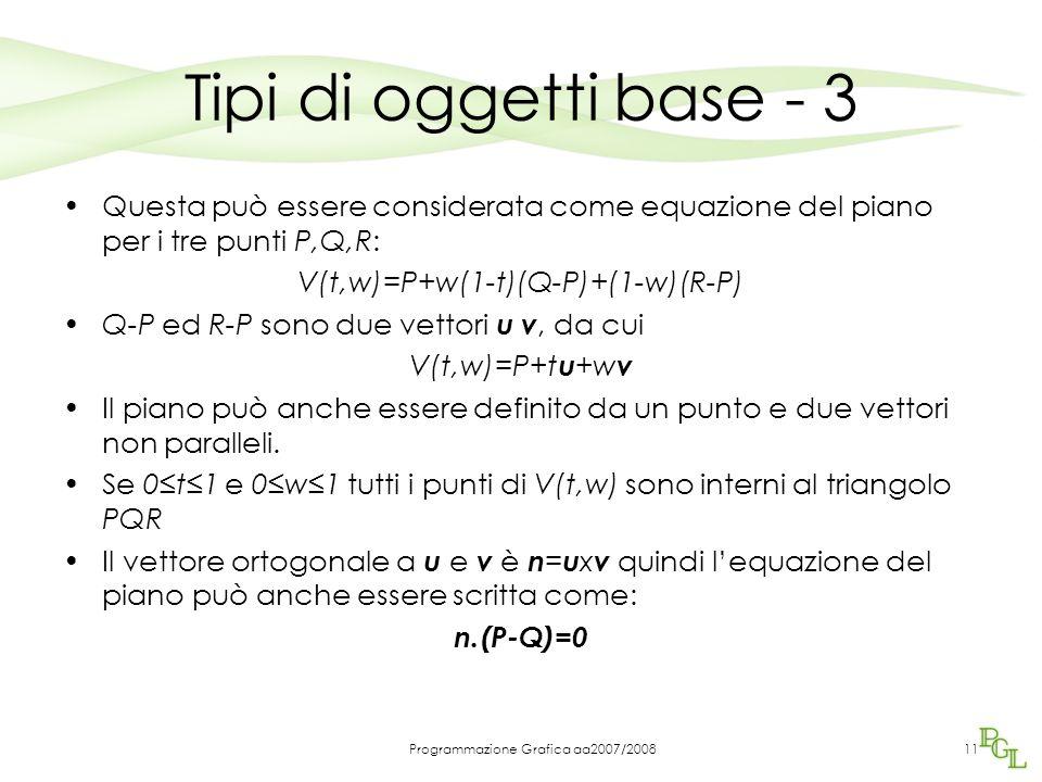 Tipi di oggetti base - 3 Questa può essere considerata come equazione del piano per i tre punti P,Q,R: