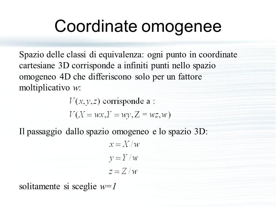 Coordinate omogenee Spazio delle classi di equivalenza: ogni punto in coordinate.