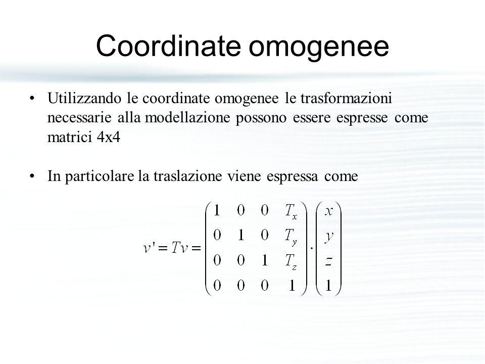 Coordinate omogenee Utilizzando le coordinate omogenee le trasformazioni necessarie alla modellazione possono essere espresse come matrici 4x4.