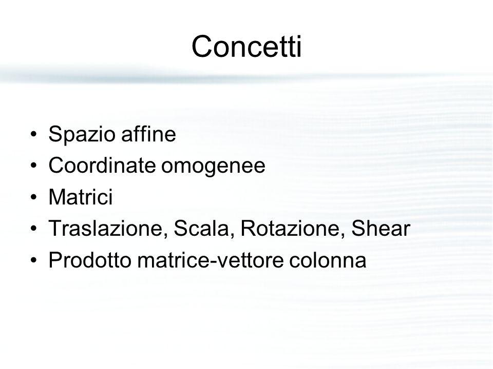 Concetti Spazio affine Coordinate omogenee Matrici