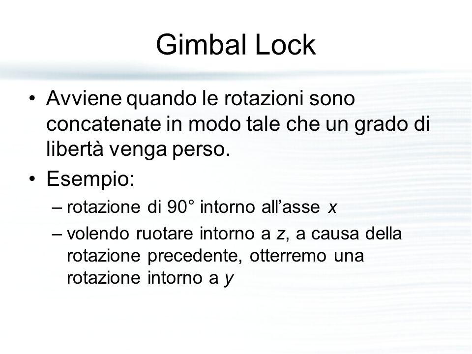 Gimbal Lock Avviene quando le rotazioni sono concatenate in modo tale che un grado di libertà venga perso.