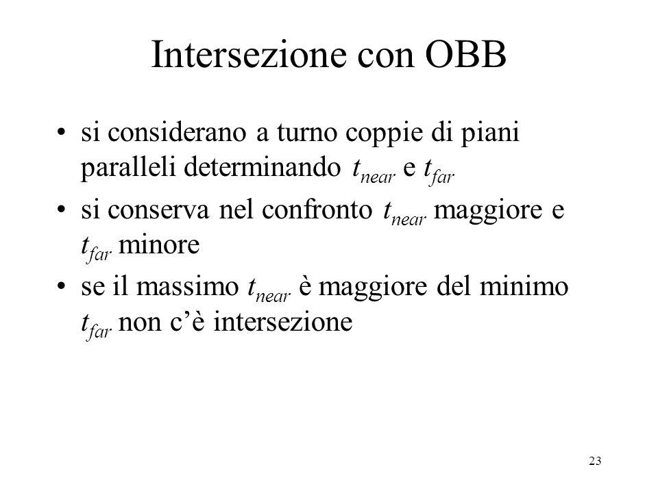 Intersezione con OBB si considerano a turno coppie di piani paralleli determinando tnear e tfar.