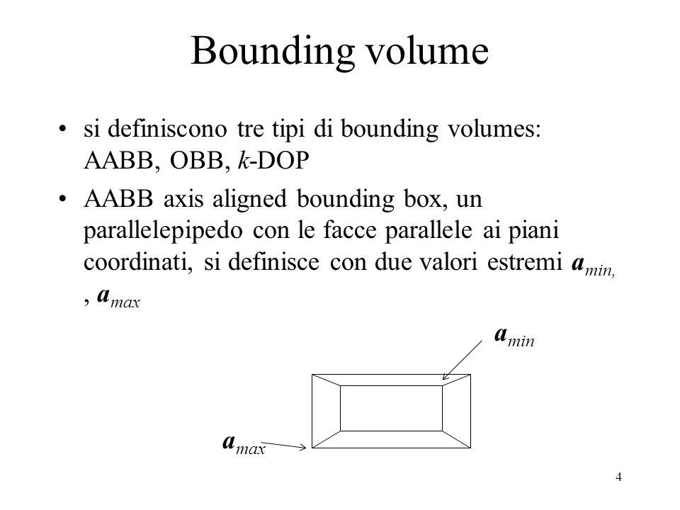 Bounding volume si definiscono tre tipi di bounding volumes: AABB, OBB, k-DOP.