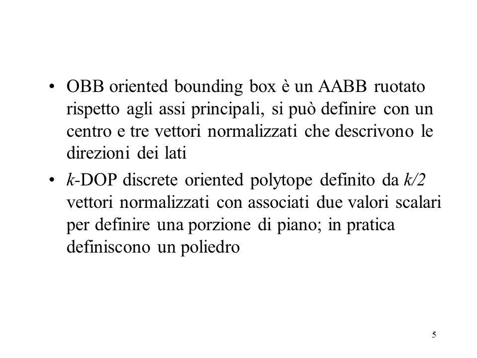 OBB oriented bounding box è un AABB ruotato rispetto agli assi principali, si può definire con un centro e tre vettori normalizzati che descrivono le direzioni dei lati