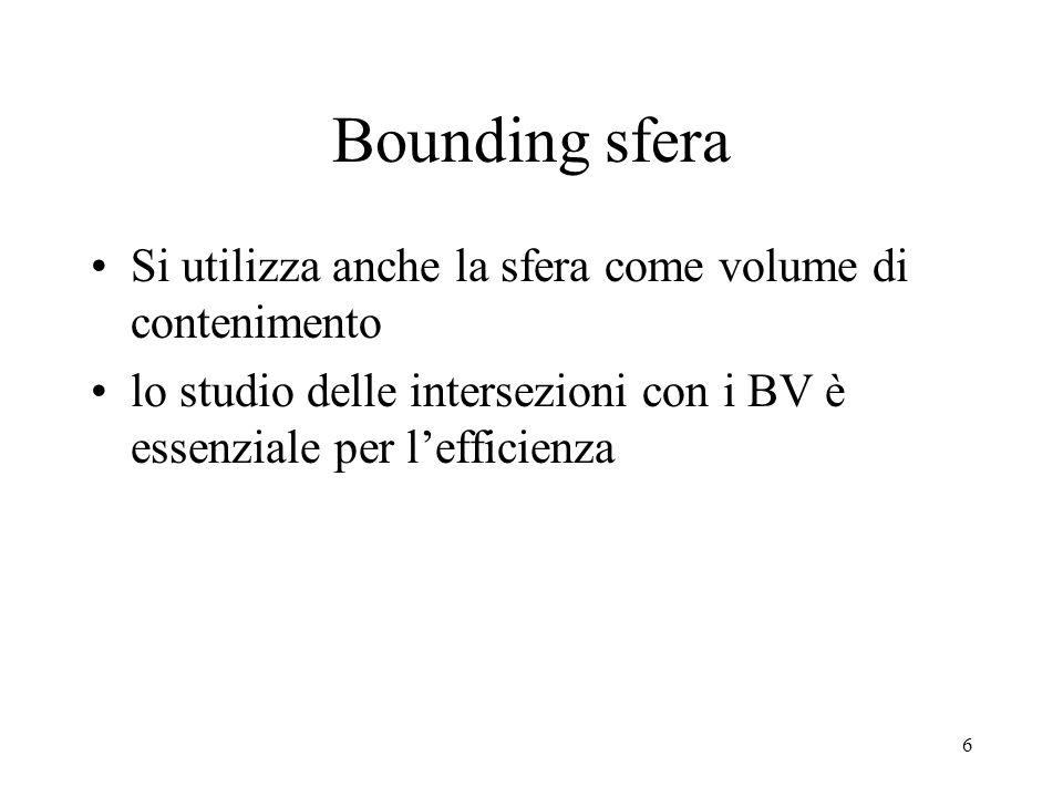 Bounding sfera Si utilizza anche la sfera come volume di contenimento