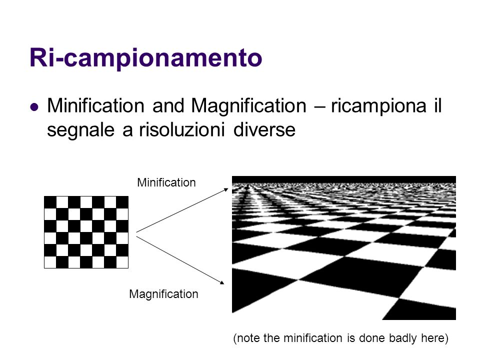 Ri-campionamento Minification and Magnification – ricampiona il segnale a risoluzioni diverse. Minification.