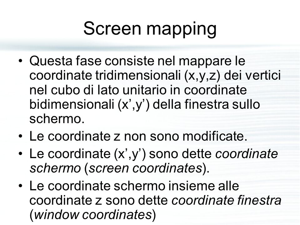 Screen mapping