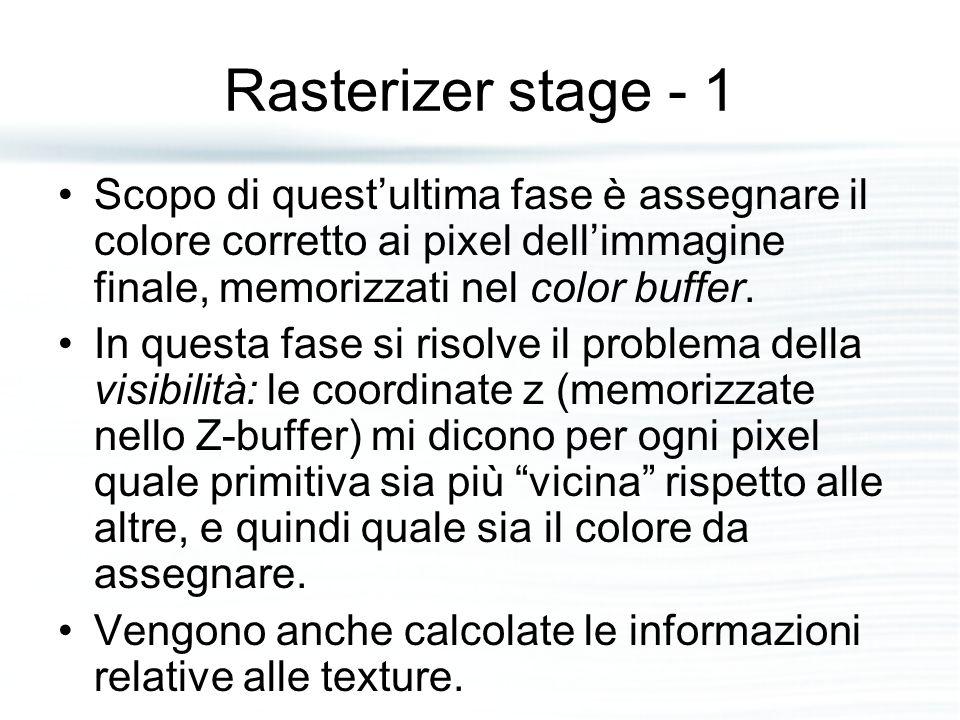 Rasterizer stage - 1 Scopo di quest'ultima fase è assegnare il colore corretto ai pixel dell'immagine finale, memorizzati nel color buffer.
