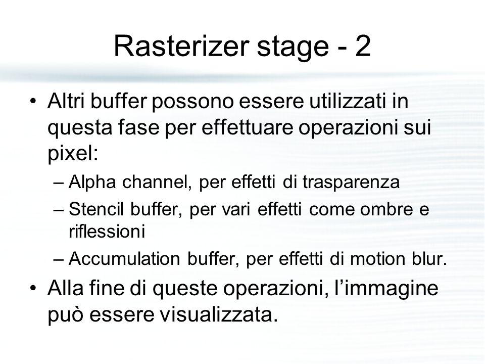 Rasterizer stage - 2 Altri buffer possono essere utilizzati in questa fase per effettuare operazioni sui pixel: