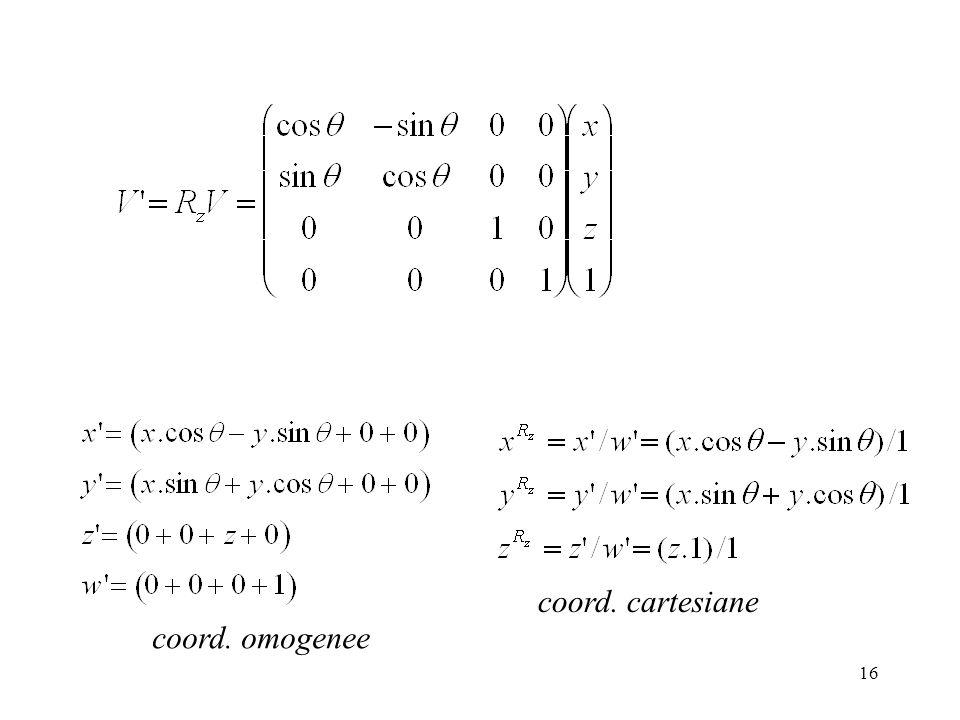 coord. cartesiane coord. omogenee
