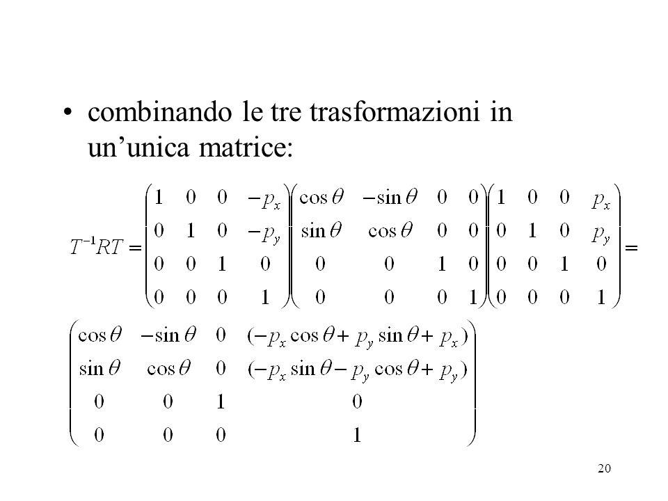 combinando le tre trasformazioni in un'unica matrice: