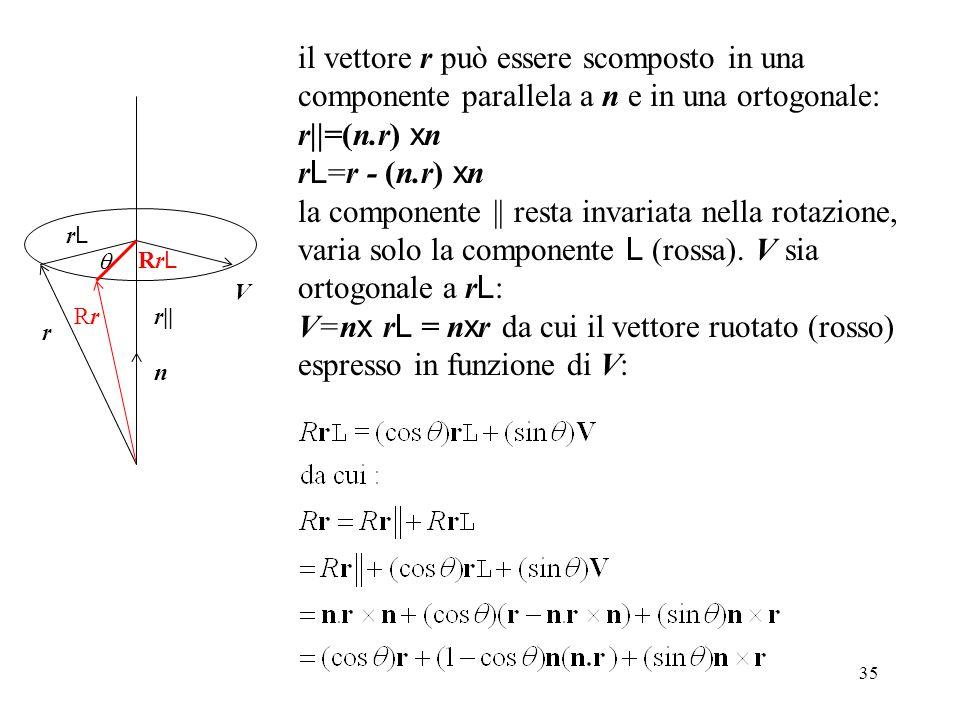 il vettore r può essere scomposto in una componente parallela a n e in una ortogonale: