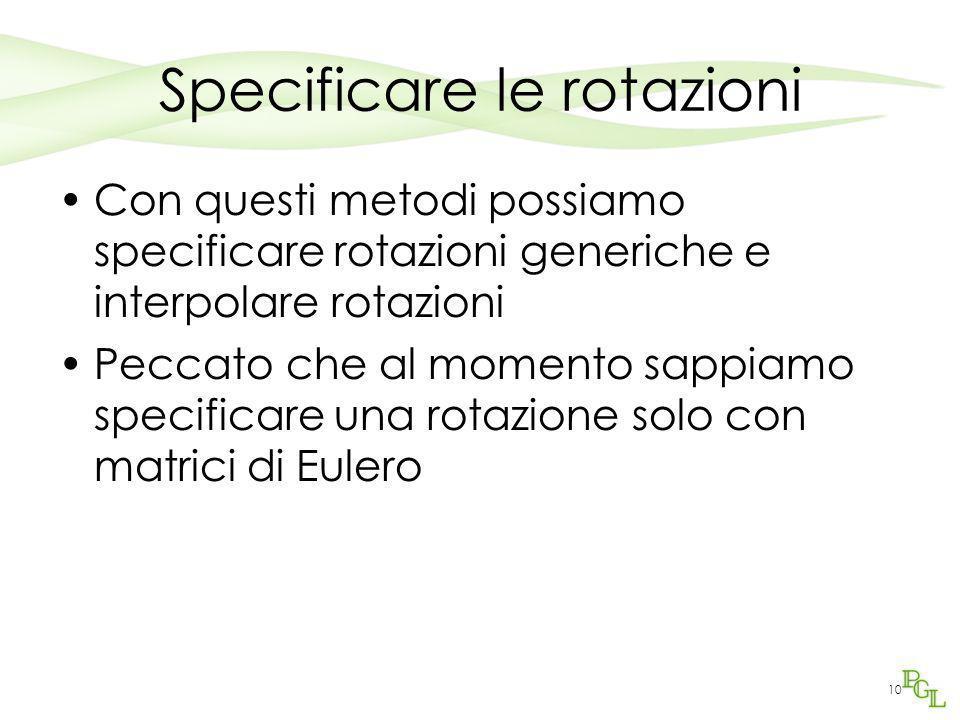 Specificare le rotazioni