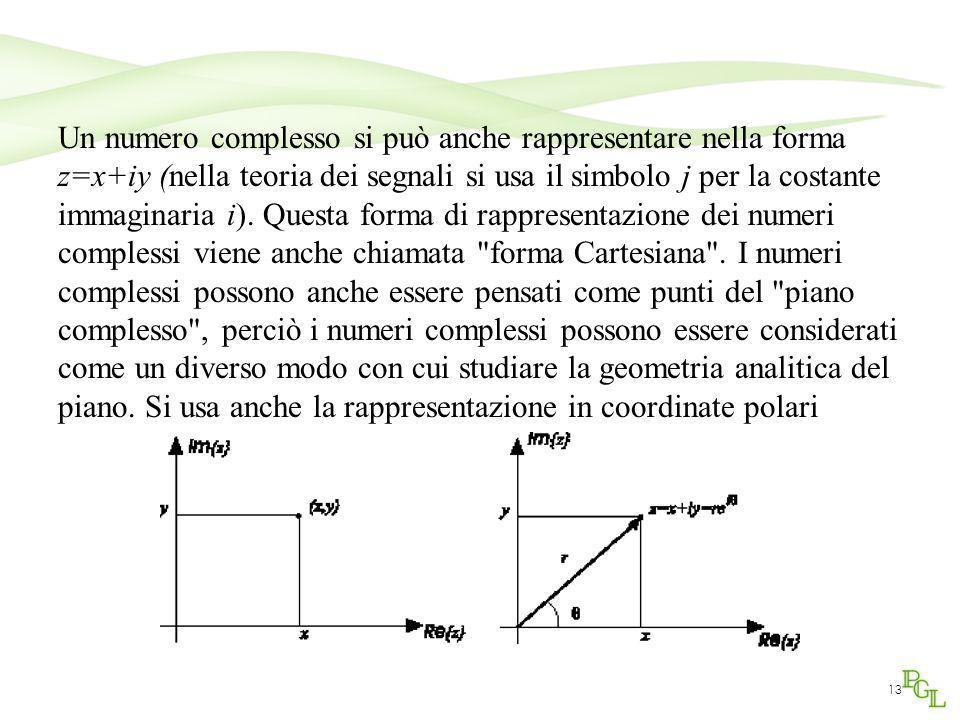 Un numero complesso si può anche rappresentare nella forma z=x+iy (nella teoria dei segnali si usa il simbolo j per la costante immaginaria i).