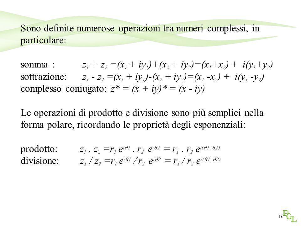 Sono definite numerose operazioni tra numeri complessi, in particolare: