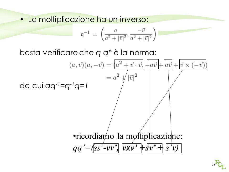 ricordiamo la moltiplicazione: qq'=(ss'-vv', vxv' +sv' + s'v)