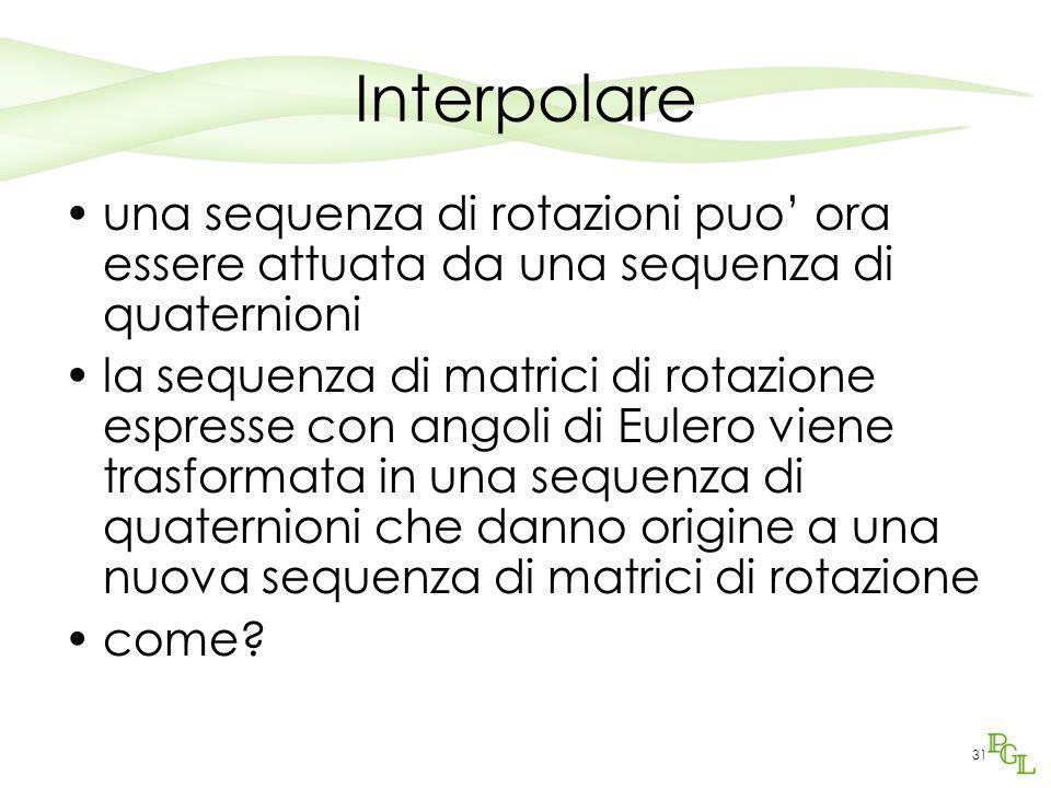 Interpolare una sequenza di rotazioni puo' ora essere attuata da una sequenza di quaternioni.