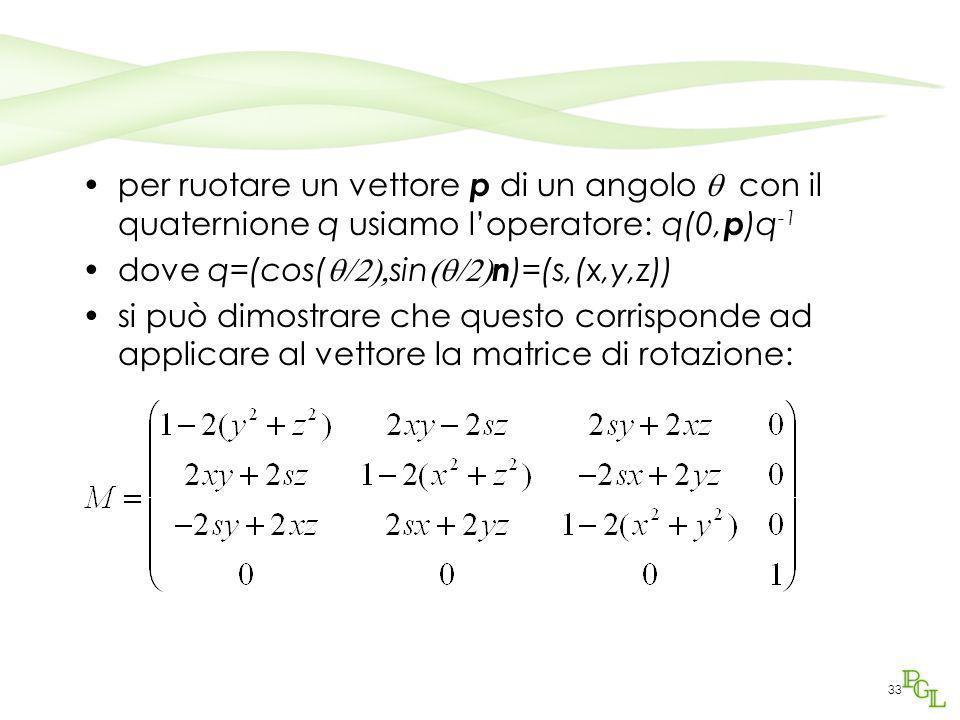 per ruotare un vettore p di un angolo  con il quaternione q usiamo l'operatore: q(0,p)q-1