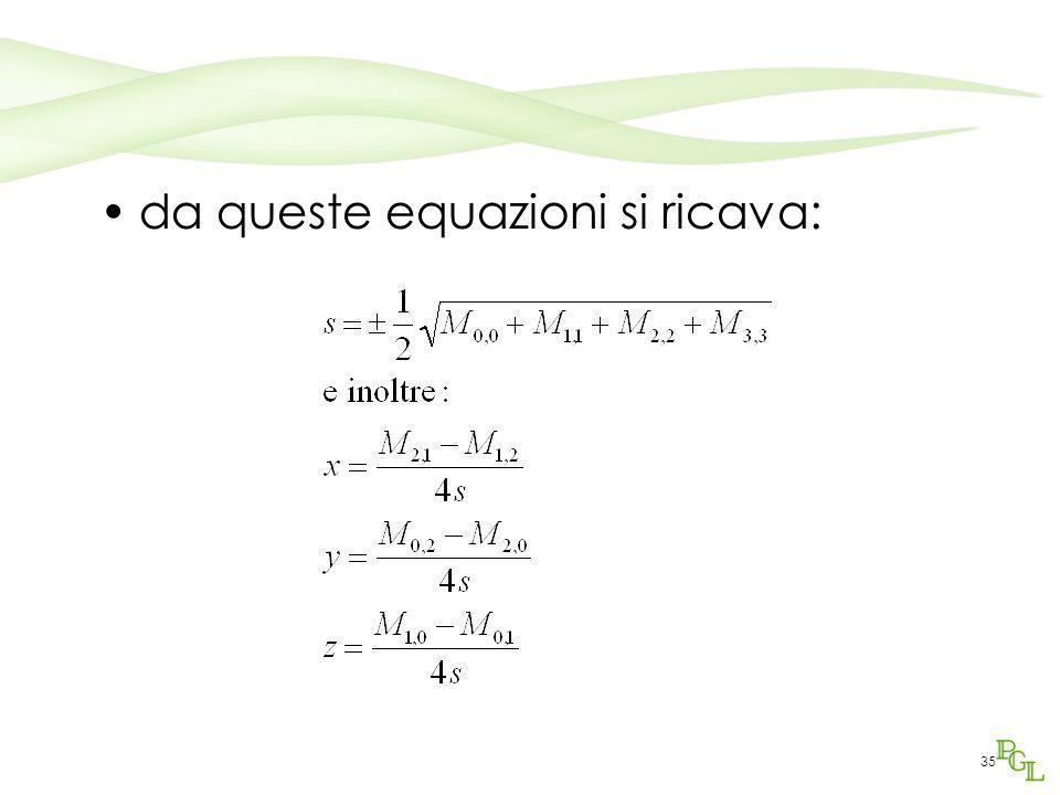 da queste equazioni si ricava: