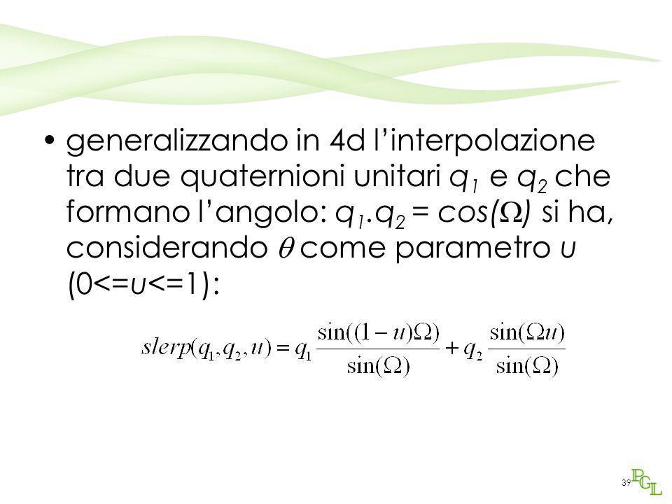 generalizzando in 4d l'interpolazione tra due quaternioni unitari q1 e q2 che formano l'angolo: q1.q2 = cos() si ha, considerando  come parametro u (0<=u<=1):