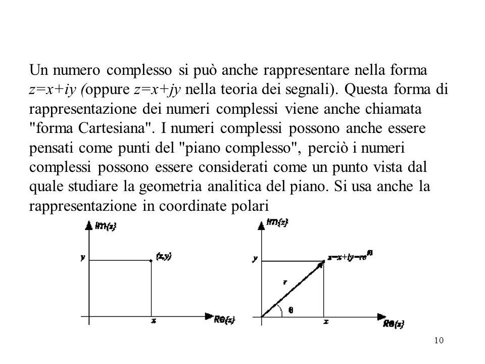 Un numero complesso si può anche rappresentare nella forma z=x+iy (oppure z=x+jy nella teoria dei segnali).