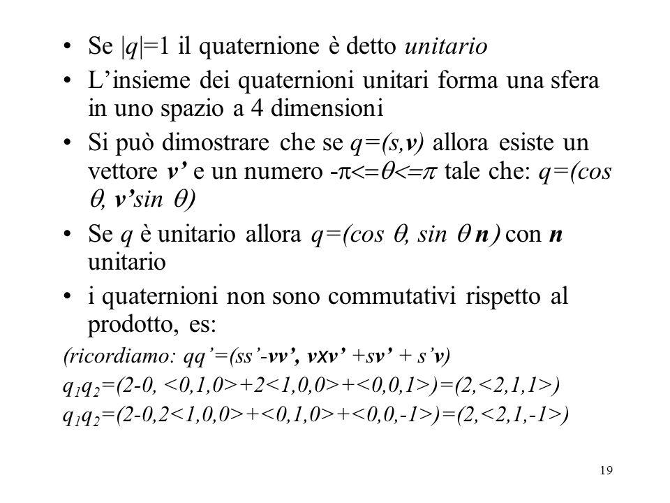 Se |q|=1 il quaternione è detto unitario