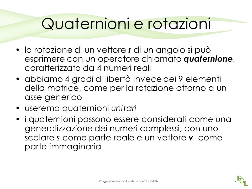 Quaternioni e rotazioni