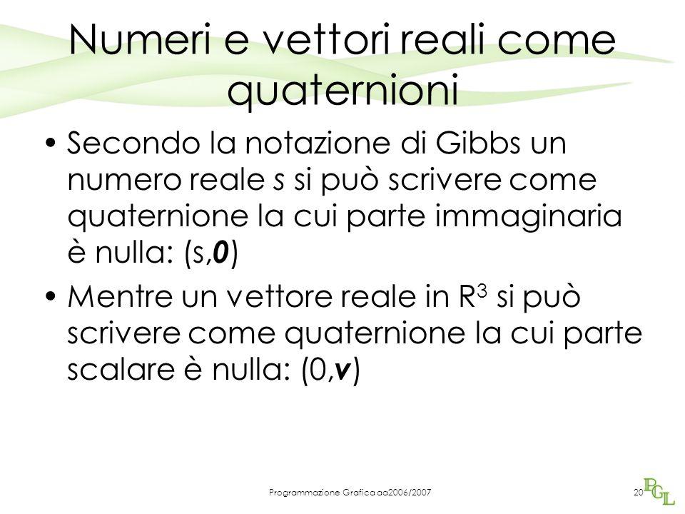 Numeri e vettori reali come quaternioni