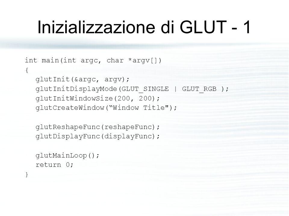 Inizializzazione di GLUT - 1