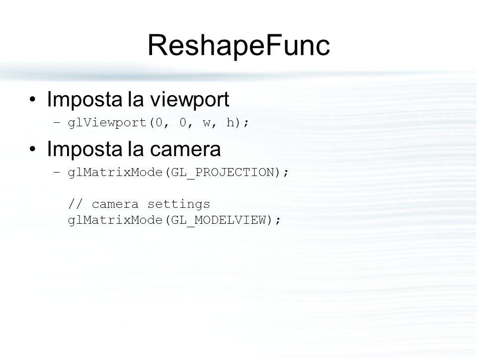 ReshapeFunc Imposta la viewport Imposta la camera