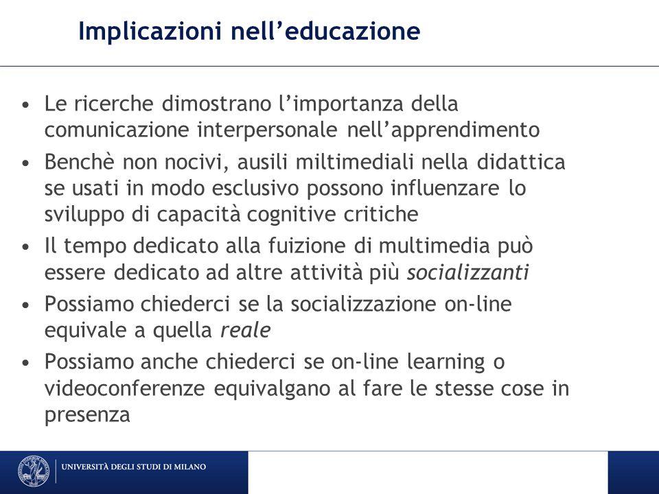 Implicazioni nell'educazione