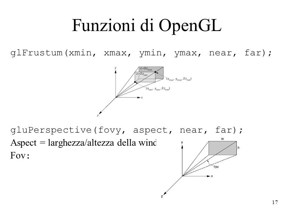 Funzioni di OpenGL glFrustum(xmin, xmax, ymin, ymax, near, far);