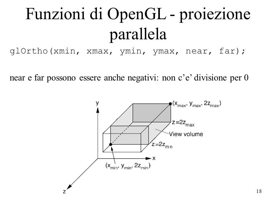 Funzioni di OpenGL - proiezione parallela