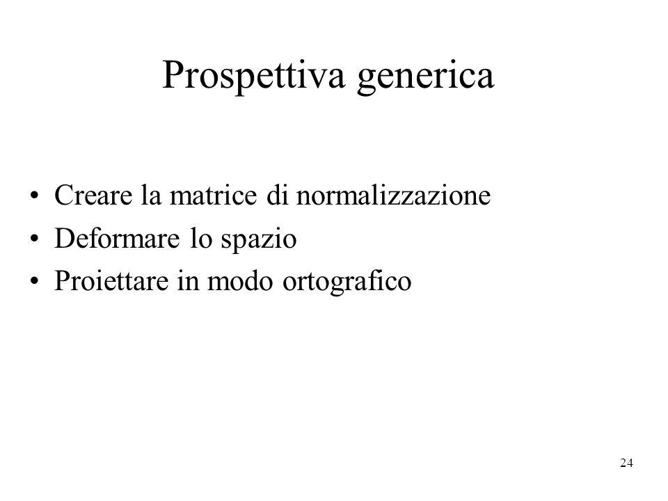 Prospettiva generica Creare la matrice di normalizzazione