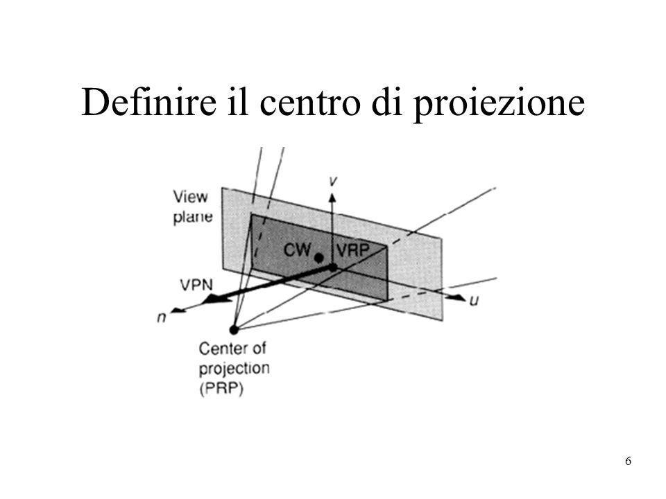 Definire il centro di proiezione