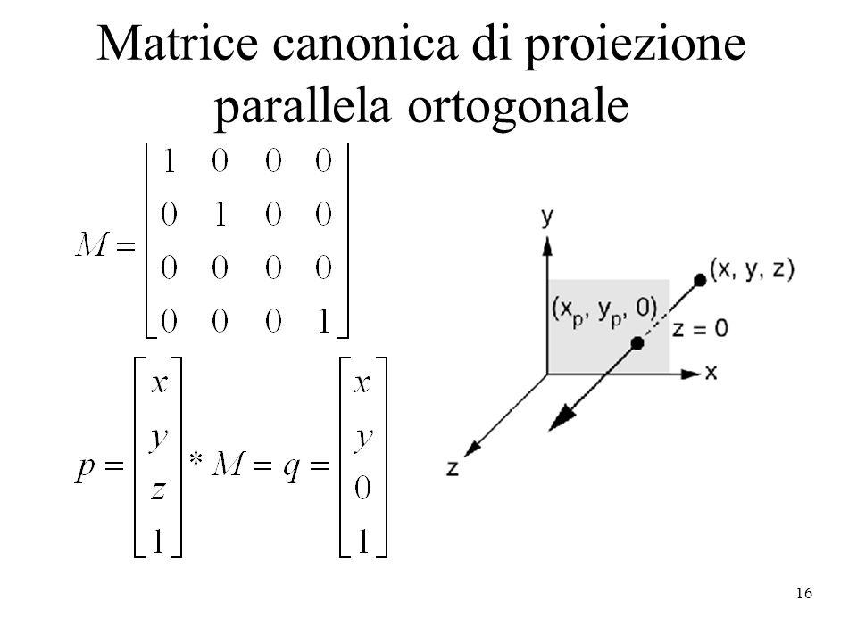 Matrice canonica di proiezione parallela ortogonale