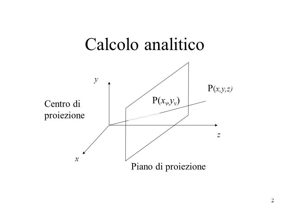 Calcolo analitico P(x,y,z) P(xv,yv) Centro di proiezione