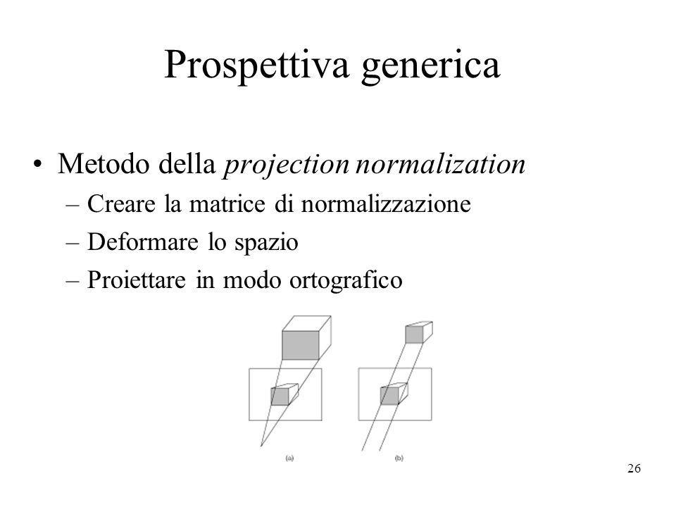 Prospettiva generica Metodo della projection normalization