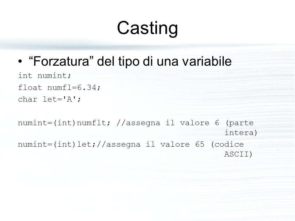 Casting Forzatura del tipo di una variabile int numint;