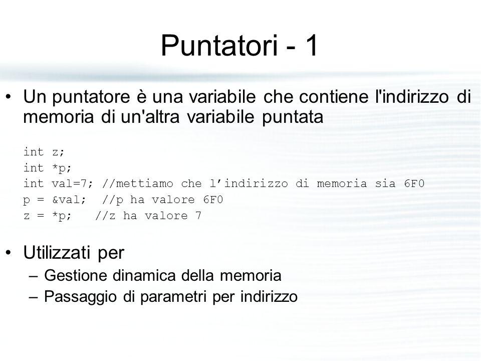 Puntatori - 1 Un puntatore è una variabile che contiene l indirizzo di memoria di un altra variabile puntata.