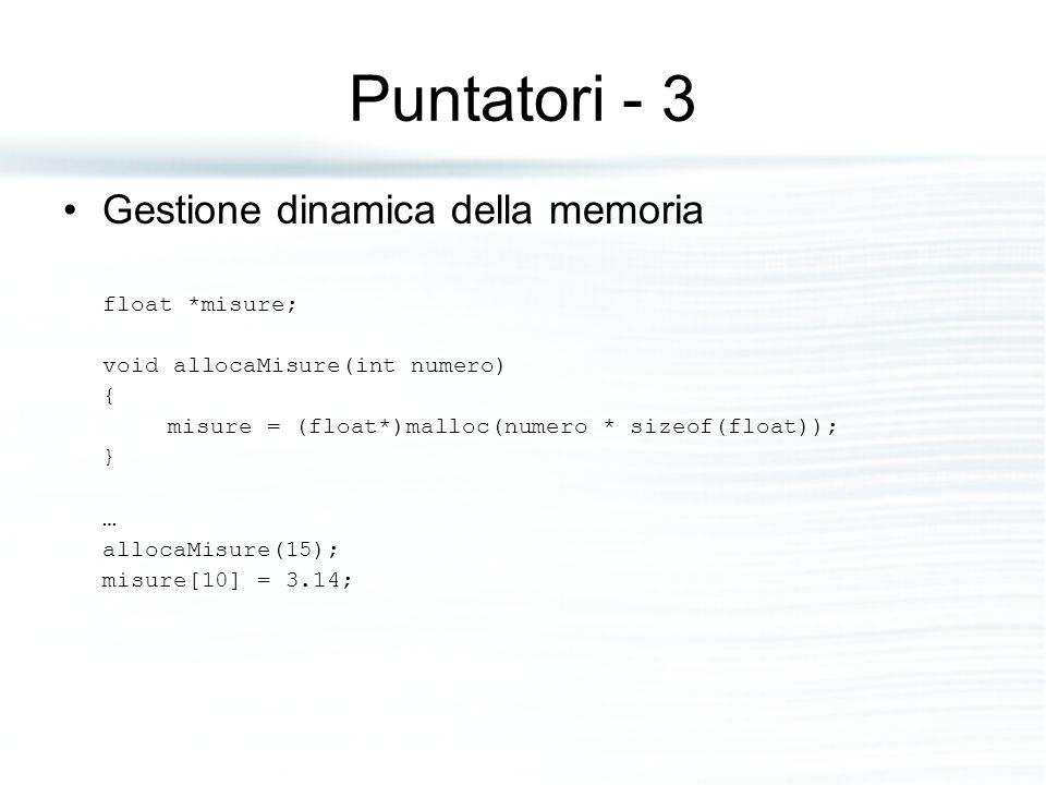 Puntatori - 3 Gestione dinamica della memoria float *misure;