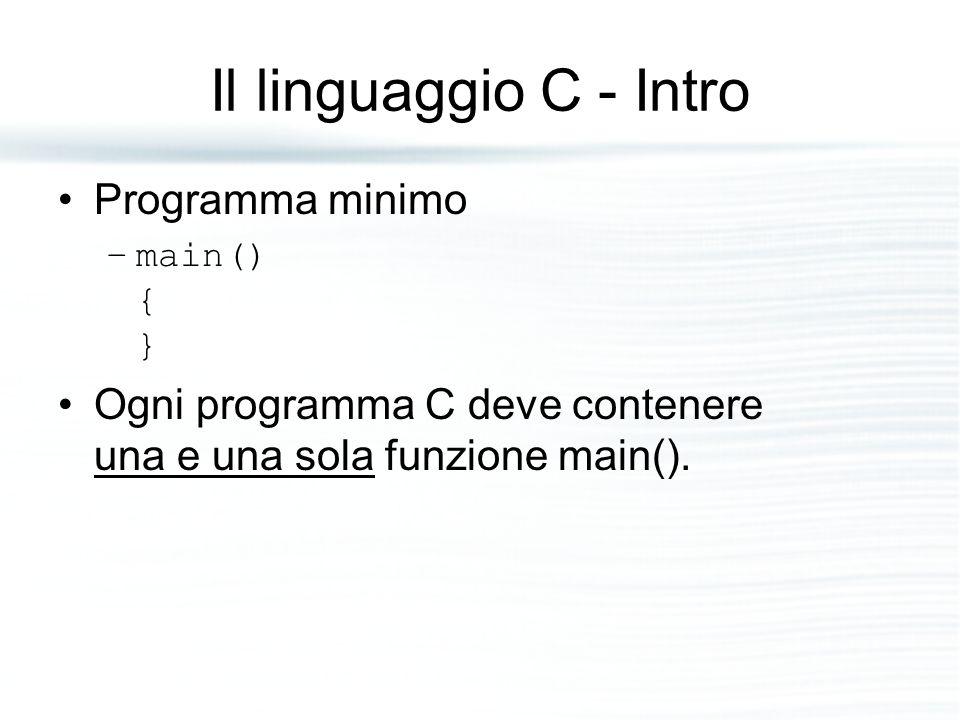 Il linguaggio C - Intro Programma minimo