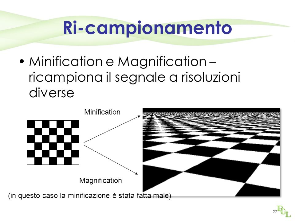 Ri-campionamento Minification e Magnification – ricampiona il segnale a risoluzioni diverse. Minification.