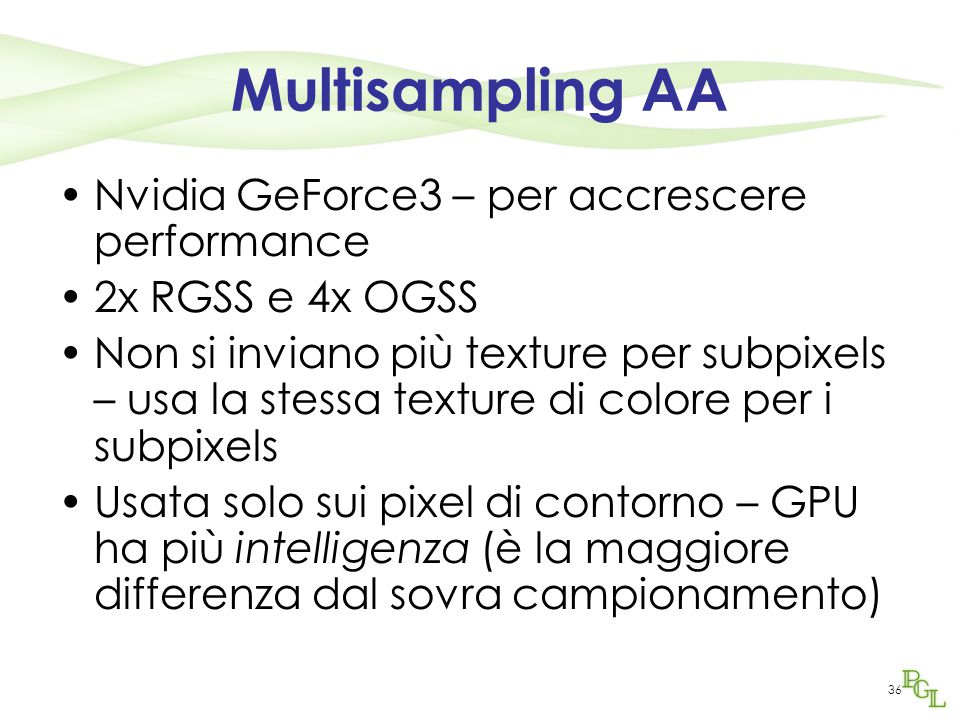 Multisampling AA Nvidia GeForce3 – per accrescere performance