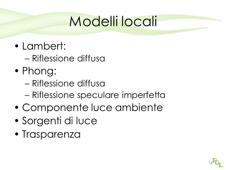 Modelli locali Lambert: Phong: Componente luce ambiente