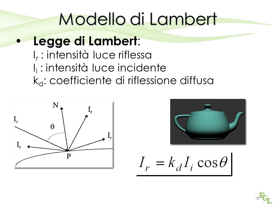 Modello di Lambert Legge di Lambert: Ir : intensità luce riflessa Ii : intensità luce incidente kd: coefficiente di riflessione diffusa.
