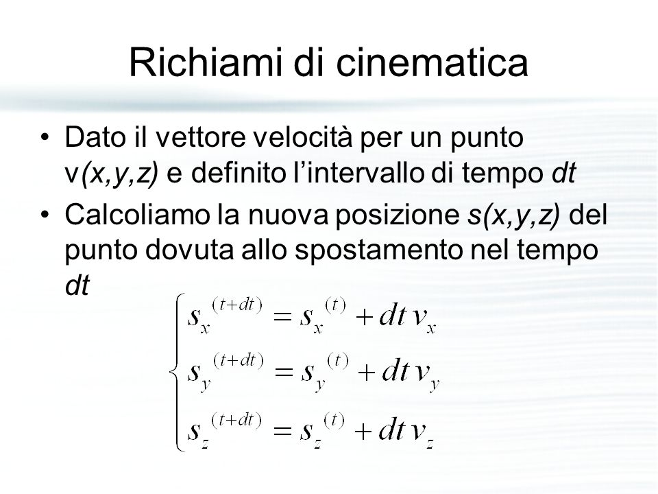 Richiami di cinematica