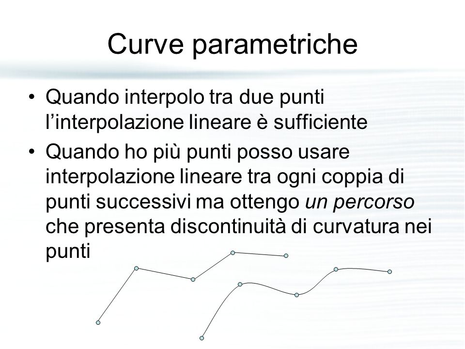 Curve parametriche Quando interpolo tra due punti l'interpolazione lineare è sufficiente.